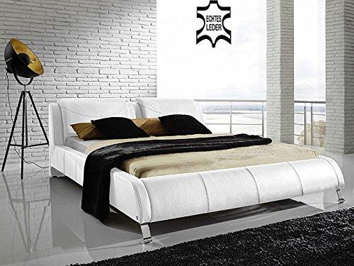 Bett weiß leder 180x200  Polsterbett Bett Catania weiß Echtleder Ehebett Bett Doppelbett ...