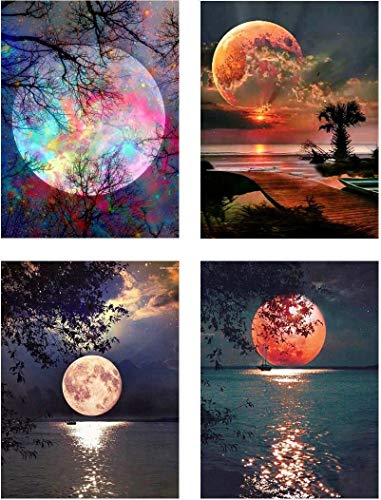 4 Sets 5d Full Drill Diamond Painting Kits for Adult Children Moon Diamond Dotz for Home Wall Decor, 12×16 INCH (A-Pack)