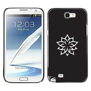 Caucho caso de Shell duro de la cubierta de accesorios de protección BY RAYDREAMMM - Samsung Galaxy Note 2 N7100 - Ink Tattoo Minimalist Black White