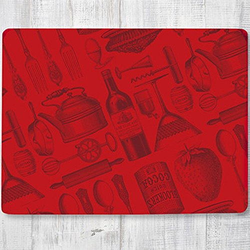 Rainy Dog Studios Home and Kitchen Items Hard Fiberboard Cork Board Placemats Set of 4 Red 11.8 by 15.7