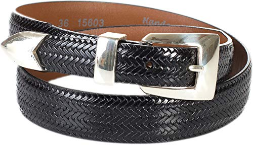 Avalon Black Leather - Avalon Basketweave Taper Leather Belt