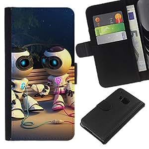 EJOY---La carpeta del tirón la caja de cuero de alta calidad de la PU Caso protector / HTC One M9 / --Divertido robot Pares lindos