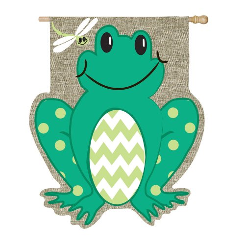 Evergreen Burlap Smiling Summer Frog House Flag, 29 x 43 inches