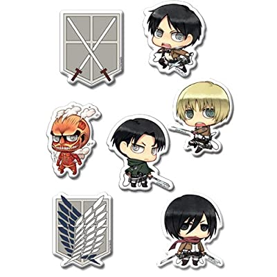Attack On Titan: Eren, Mikasa, Levi and Armin SD Group Puffy Sticker Set: Toys & Games