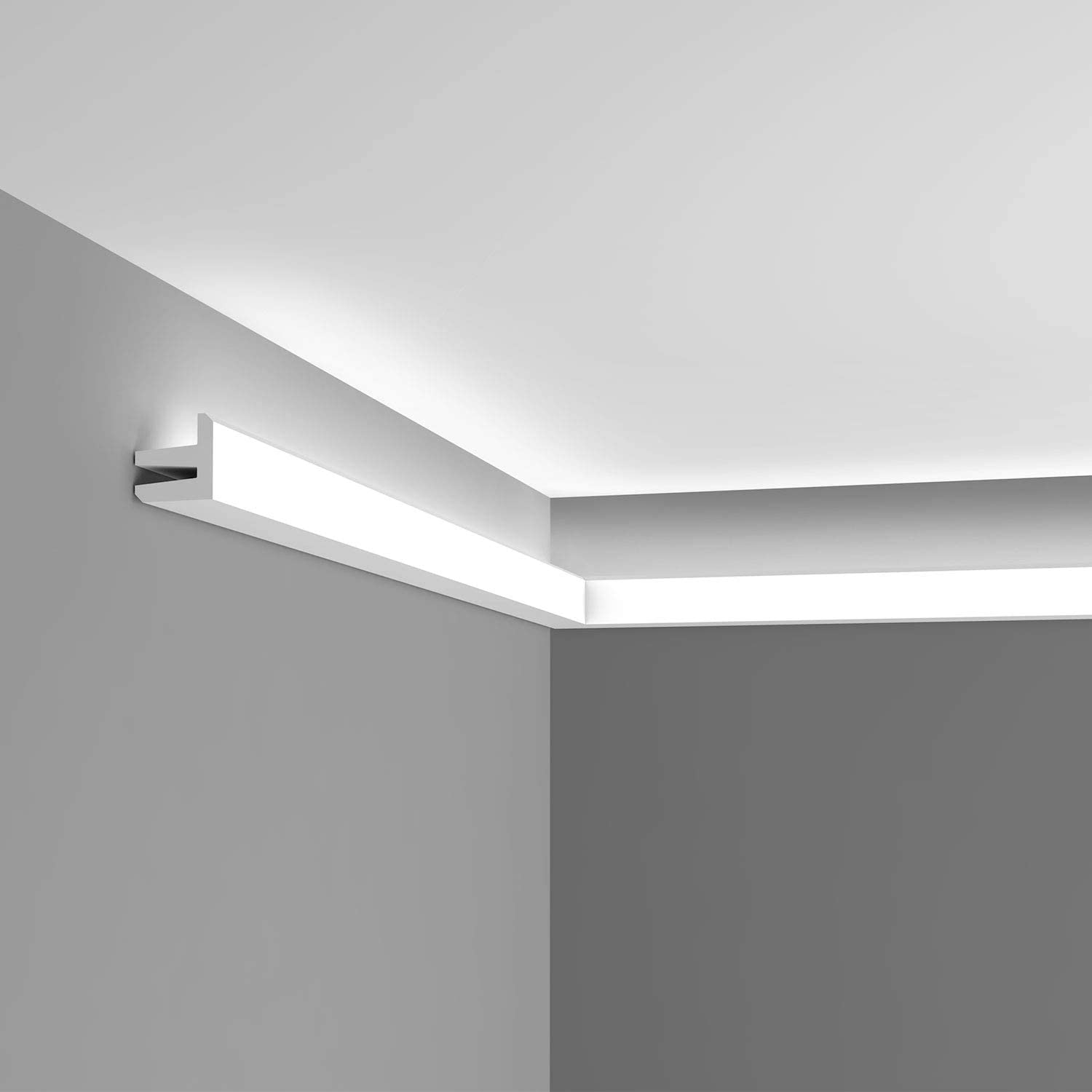 Orac Decor C380 | High Density Polyurethane Crown Moulding | Primed White | 2-1/2in Face x 78in Long | for Indirect Lighting and Hiding Wires Cornice Molding