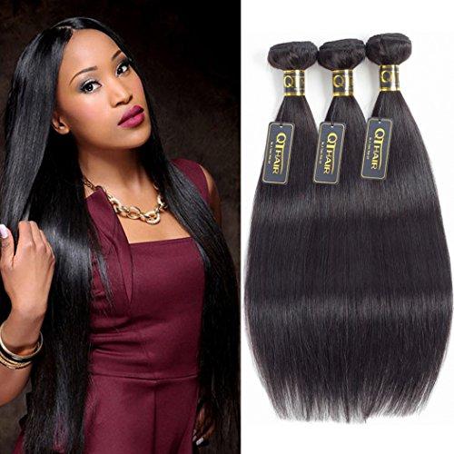 QTHAIR 10A Virgin Brazilian Straight Human Hair Extensions 3 Bundles (14 16 18 inch) Unprocessed Brazilian Virgin Hair Weave Bundles Natural Black Color
