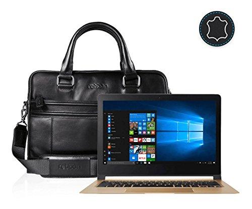 reboon Echt-Leder Laptop-Tasche in Schwarz Leder für ACER Swift 7 13 3   13 Zoll   Notebooktasche Umhängetasche   Damen/Herren - Unisex   Premium Qualität Schwarz Leder