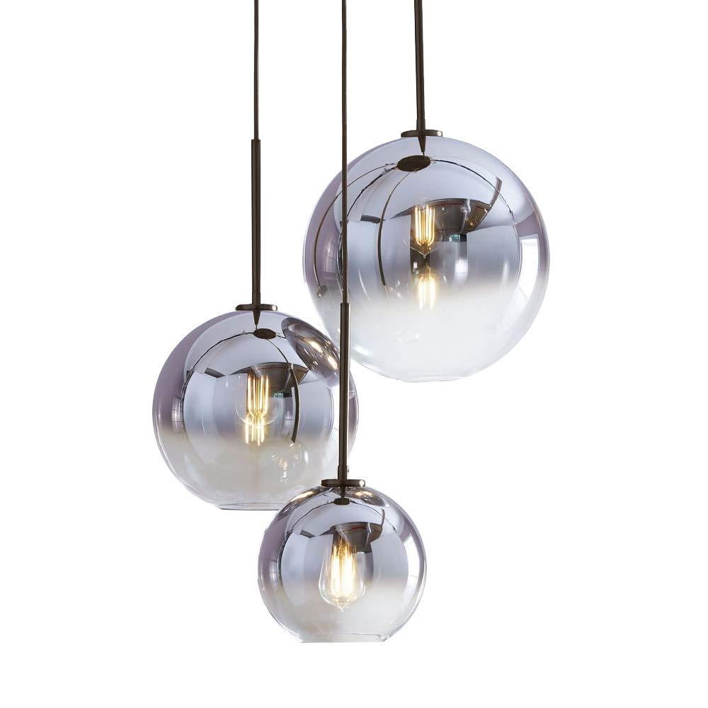 Wings of wind - Farbverlauf Glas Lampenschirm, E27 Schraubenhalter Pendelleuchte Glaskugel Licht Schatten Ion Silber (3er Pack mit 35cm Zubehör)