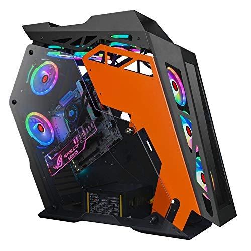XIAOMIN Computer Main Case Gaming Internet Cafe Computer Case, Colour: Big Coffee Plus Black Orange Durable