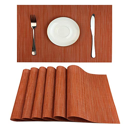 Red-A Placemats Set of 6 for Dining Table Heat-Resistant Washable Place Mats Woven Vinyl Kitchen Table Mats Easy to Clean,Orange (Orange Table Kitchen)