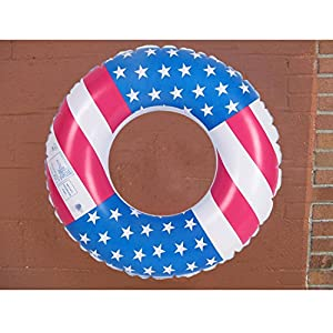 Leegor USA Flag Premium PVC Float Swimming Ring Circle Tube Inflatable Beach Raft Boat Sea Toys Swim Pool Party Decor (75cm)