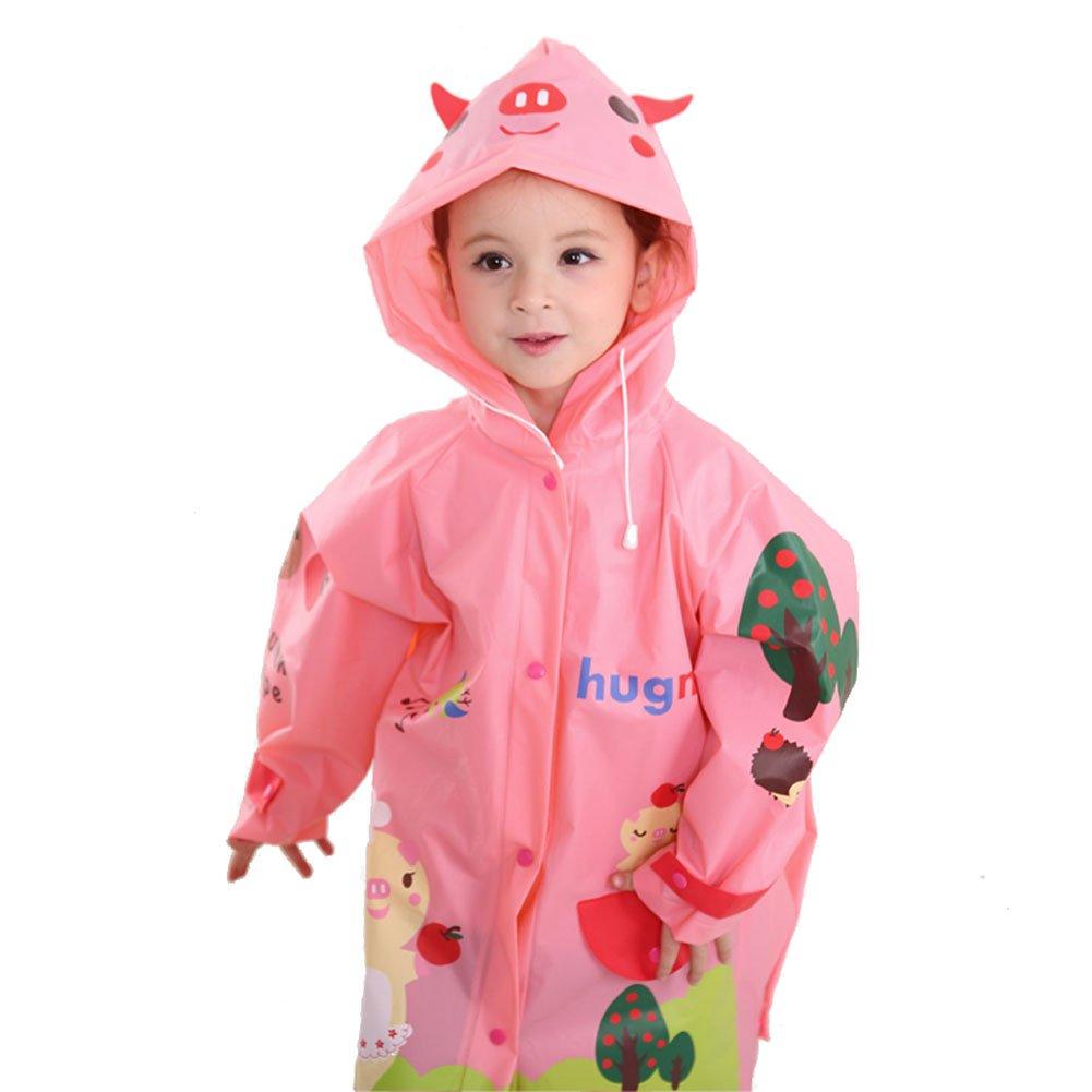 BIKMAN Girl's Cute Cartoon Pattern Rainwear Hooded Raincoat for School (L(6-10 years old), pink pig) by BIKMAN