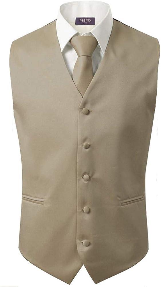 3 Pcs Vest Hankie Beige Fashion Mens Formal Dress Suit Waistcoat Tie