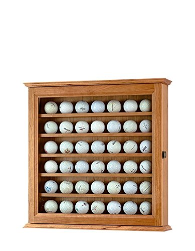 Cherry Golf Ball Display Case Wall Cabinet *Made in the USA*