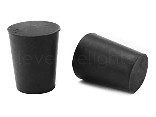 26mm Long 10 Pack 20mm x 15mm Size 2 CleverDelights Solid Rubber Stoppers Black Lab Plug #2