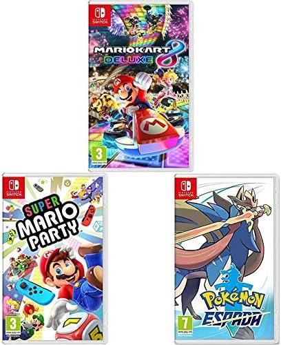 Nintendo Mario Kart 8 Deluxe + Super Mario Party + Pokémon Espada ...