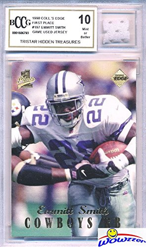 Vintage 1990's Emmitt Smith Hidden Treasures with a Piece of Authentic Emmitt Smith GAME USED Jersey Graded BGS Beckett 10 Mint GGUM Card! Awesome HIGH Grade Vintage Emmitt Game Used Card! (Game Used Jersey Cards)