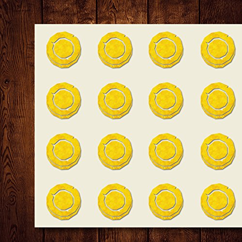 Coin Fantasy Rough Money Gold Craft Stickers, 44 Stickers at 1.5 inches, Great Shapes for Scrapbook, Party, Seals, DIY Projects, Item 321715