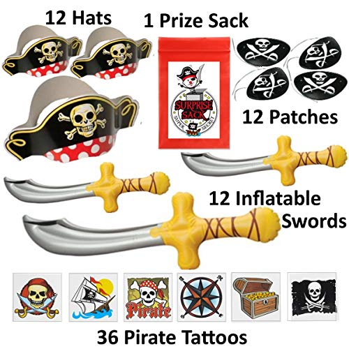 72 Pc Deluxe Pirate Dress up Party Favor Pack (12 Pirate Hats, 12 Pirate Patches, 12 Inflatable Pirate Swords, & 36 Pirate Tattoos) Costume Supplies]()