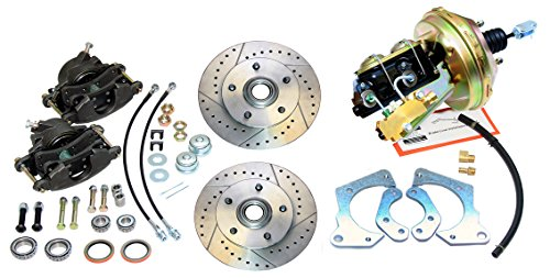 (Kit) Inline Tube Front Power Disc Brake Conversion Kit Slotted Rotors Compatible With 1965-66 Chevrolet Impala
