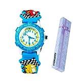 Eleoption Waterproof Kid Watches 3D Cute Cartoon Digital Silicone Wristwatches Time Teacher Gift for Little Girls Boy Kids Children Birthday (Little Car Blue)