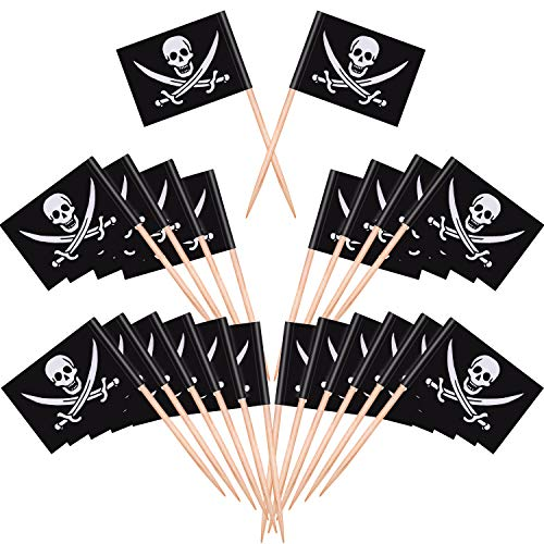 Blulu Pirate Cocktail Toothpicks Flags Cake Toppers for Food, Appetizer, Cocktail, Cupcake Decoration for Kids Halloween Birthday Party Decorations (200)