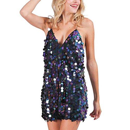 Mini Halter Per Di Sexy Scollo Donna A Clubwear vestito Vestiti Forever Abito V diamonds Aderente Con Paillettes Nero Donna fwOZqz