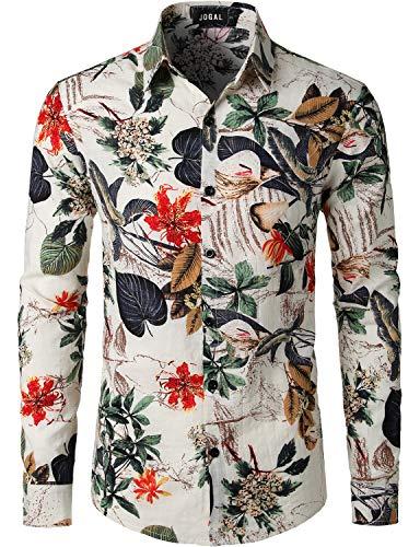 JOGAL Men's Flower Casual Button Down Long Sleeve Hawaiian Shirt Medium A334L White ()