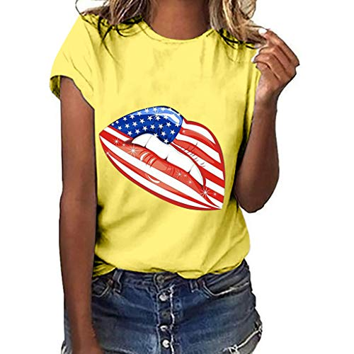 - GHrcvdhw Women Slim Fit Tees Independence Day Print Plus Size Short Sleeve Blouse Tops Comfy T-Shirt Yellow