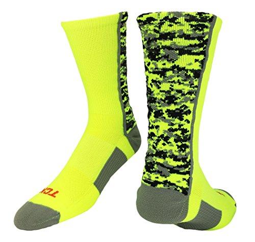 (TCK Digital Camo Crew Socks (Neon Yellow, Small))