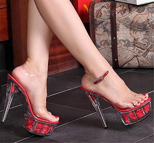Eu38 Fleur Red eu39 Translucide Gaogenx Talon Des Taille Sandales Fête Allumer Aiguille Club 41 35 À forme Chaussures Plate Femmes nbsp;mariage Cristal qFw4H