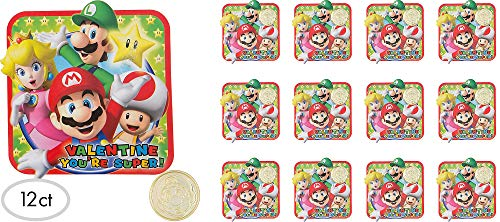 Super Mario Bros Valentine Cards With Gold Coins (For 24 Kids) -
