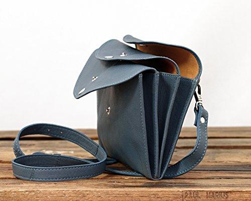 LA MINAUDIÈRE Hellblau Washed Blue Handtasche Vintage-Stil aus Leder Damentasche PAUL MARIUS