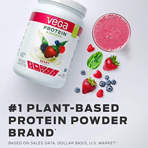 Vega Protein & Greens Vanilla (18 Servings, 1.16 lb) - Plant Based Protein Powder, Gluten Free, Non Dairy, Vegan, Non Soy, Non GMO - (Packaging may vary)