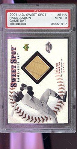 2001 Upper Deck Sweet Spot Hank Aaron Game-Used Bat Baseball Graded Card 9 - PSA/DNA Certified - MLB Game Used (2001 Upper Deck Sweet)