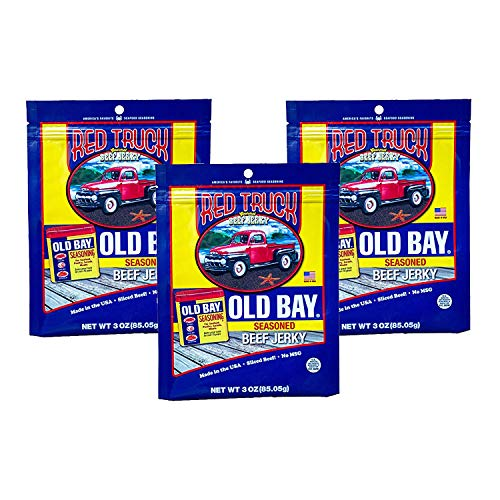 Red Truck Old Bay Gourmet Beef Jerky | High Protein, Low Carb, Ready to Eat, Healthy Snack | Made with 100% USA Beef Slices | Classic Old Bay Flavor | (Old Bay, Pack - 3) (Biggest Bag Of Chips In The World)
