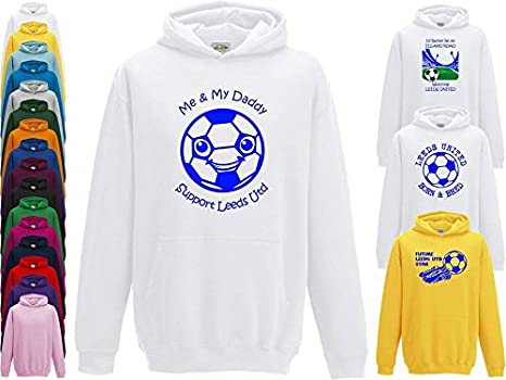 Hat-Trick Designs Leeds United Football Baby//Kids//Childrens Hoodie Sweatshirt-White-Id Rather Be-Unisex Gift