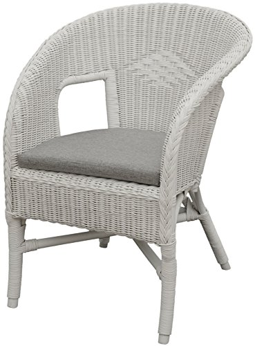 Bella Rattan Chair in White with Cushion–Stacking Armchair Made of Natural Rattan