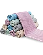 Fish Scale Microfiber Polishing Cleaning Cloth Reusable Microfiber Towels, Lint Free Cleaning Rags for Glass No Watermark, Dishes, Mirrors (10Pcs,5 Colors,15.7 in x 11.8 in)