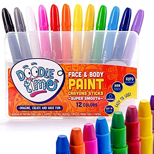 (Doodle Time Face Paint Crayons Kit! Face and Body Paint Stick for Halloween Makeup, Face Painting at Parties, Clown Costume Facepaint for Kids! White, Black, Green, Blue, Red, Pink and More!)