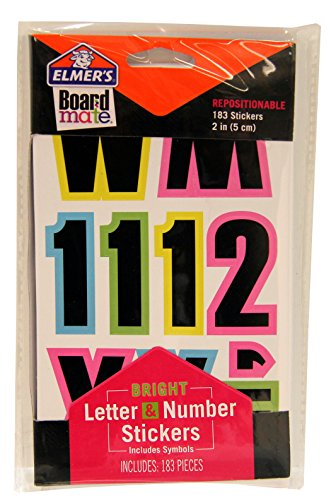 "ELMERS Board Mate Repositionable 2"" Letter, Number & Symbol Stickers, Bright Colors, 183 Pieces (E3096)"