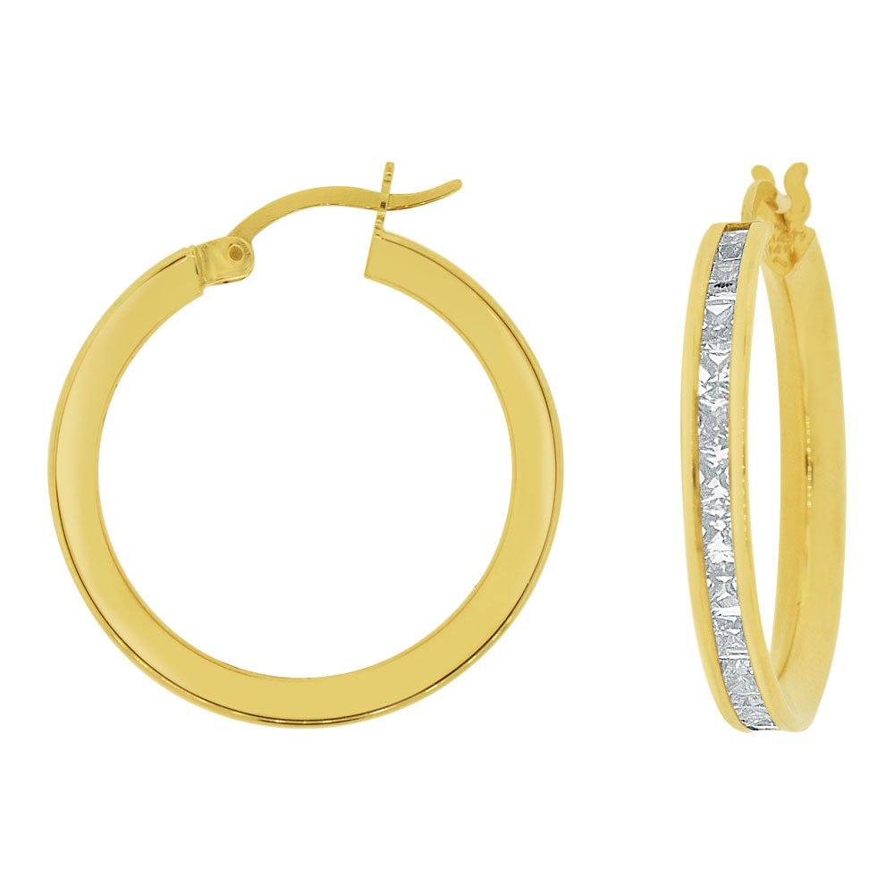 14k Yellow Gold, Round 3mm Wide Channel Set Created CZ Earring 20mm Inner Snap Down by GiveMeGold