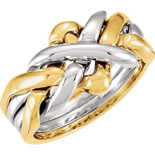 14k White Gold Puzzle Ring (Four-Piece Puzzle Ring in 14k White and Yellow Gold ( Size 10 ))