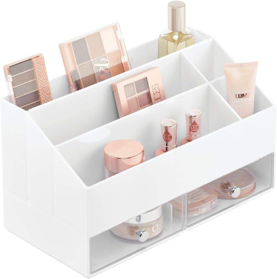 Estante giratorio para productos de belleza para el ba/ño o el tocador Caja de almacenaje rotatoria en 360/° negro mDesign Juego de 2 organizadores de maquillaje con plato giratorio