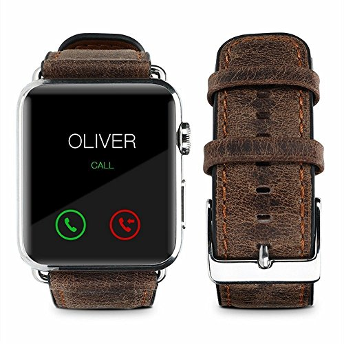 For Apple Watch Band, top4cus Genuine Leather iwatch Strap Replacement Band with Stainless Metal Clasp for Apple Watch Series 3 Series 2 Series 1 Sport and Edition (Retro Brown, 42mm) by top4cus