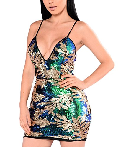Tomblin Women's Sexy Deep V Neck Sequin Glitter Bodycon Cocktail Club Evening Party Mini Dress (M=US 4-6, Green - Fashion Mall Show Vegas