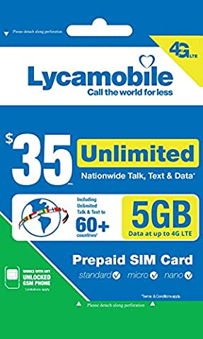 Lycamobile $35 Plan 1st Month Included SIM Card is Triple Cut Unlimited Natl Talk & Text to US and 60+ Countries 6GB Of 4G (Unlock Phone With Any Micro Sim)