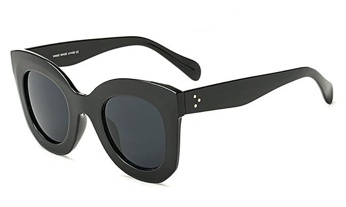 e73f5e3f492d5 Butterfly Sunglasses Semi Cat Eye Glasses Plastic Frame Clear Gradient  Lenses (Black