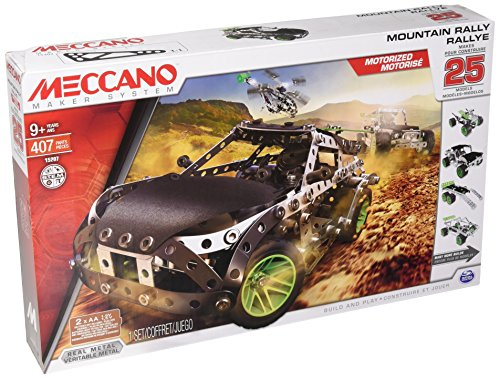 Meccano Motorized Mountain Rally Vehicle, 25 Model Building Set, 390 Pieces, For Ages 9+, STEM Construction Education (Motorized Erector Set)