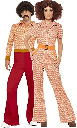 Couples Ladies AND Mens 1970s 70s Authentic Hippie Hippy Woodstock Soul Train New Years Carnival Retro Vintage Fancy Dress Costumes Outfits (UK 12-14 - Mens XLarge)